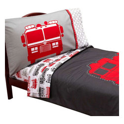 Crown Crafts Infant Products - Firetruck Toddler Bedding Set Carters Comforter Sheets - FEATURES: