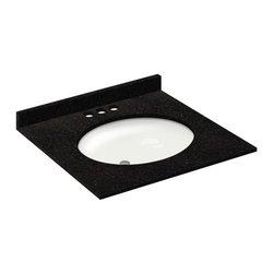 LessCare - 25x22 Absolute Black Granite Vanity Countertops - 4 Faucet Spread - *Condition: New