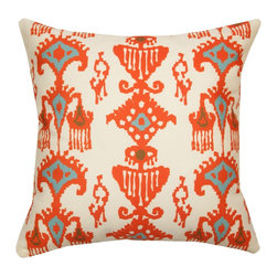 Divine Designs - Orange Indoor/Outdoor Ikat Pattern Pillow - This vibrant Ikat pattern outdoor pillow will add a global vibe to your very own backyard.