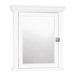 Zenith - White Crown Pediment Swing Door Medicine Cabi - Manufacturer SKU: MC10WW. Bath Storage. Mirrored Door Back. Fully Assembled. Beveled Mirror. Surface mount. Material: 75% Wood 25% Glass. White finish. Overall 5 in. D including molding. 22.25 in. L x 5.75 in. W x 26.88 in. H (30.8 lbs.)This elegant furniture style cabinet has a beveled mirror, crown pediment and decorative hardware. Adjustable shelves allow you to customize your storage needs. The additional interior mirror provides added convenience with an extra viewing option when in use.