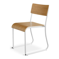 Gus Modern Church Chair, White Frame Oak Finish, Set of 2