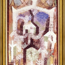"""Paul Klee-16""""x24"""" Framed Canvas - 16"""" x 24"""" Paul Klee Summer Houses framed premium canvas print reproduced to meet museum quality standards. Our museum quality canvas prints are produced using high-precision print technology for a more accurate reproduction printed on high quality canvas with fade-resistant, archival inks. Our progressive business model allows us to offer works of art to you at the best wholesale pricing, significantly less than art gallery prices, affordable to all. This artwork is hand stretched onto wooden stretcher bars, then mounted into our 3"""" wide gold finish frame with black panel by one of our expert framers. Our framed canvas print comes with hardware, ready to hang on your wall.  We present a comprehensive collection of exceptional canvas art reproductions by Paul Klee."""