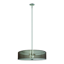 """Yosemite Home Decor - Yosemite Home Decor SH3007-5P-LSSS Pendant - The Lyell Forks Collection by Yosemite Home Decor offers contemporary style, sleek sophistication, and  new age designs with its Pendant collection. Perfect for entryways, dining rooms, hallways, and game rooms this fixture is sure to add spunk to any room and its decor. Update your space with Yosemite Home Decor.  This pendant lighting is featured with a fiery Chili Pepper Red circular shade and Satin Steel hardware. Its dimensions are 47"""" H x 30"""" L x 30"""" W and weighs 7.96 LBS. It requires (5) incandecent medium (E26) base bulbs at a recommended maximum of 60-watts. Item Code #SH3007-5P-CPRSS."""