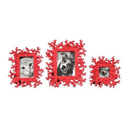 """Uttermost - Uttermost Red Coral Contemporary/Modern Picture Frame X-95581 - These photo frames feature a dynamic bright red finish. Sizes: Small (8"""" x 8"""", medium (9"""" x 11""""), large (11"""" x 13""""). Holds photo sizes 3"""" x 3"""", 4"""" x 6"""" and 5"""" x 7""""."""