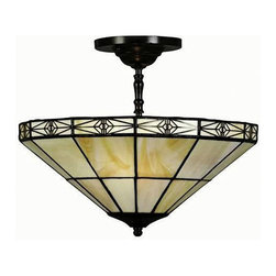 Warehouse of Tiffany - Tiffany-style Geometric Mission-style Hanging Lamp - Light up your entryway with this exquisite Tiffany-style hanging lamp. Crafted using the same methods developed by Louis Comfort Tiffany,the lamp features hand-cut stained glass tinted in warm hues that cast a welcoming glow throughout your space.