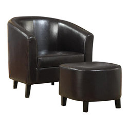 Coaster - Coaster Accent Chair and Ottoman in Dark Brown Faux Leather - Coaster - Club Chairs with Ottomans - 900240 - Dress up any living room or bedroom with this barrel back accent chair with soft seat cushions. Wrapped in a dark brown leather like vinyl this accent chair comes complete with a matching ottoman - all in one box._�