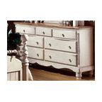 Hillsdale Furniture - Seven-Drawer Dresser With English Dovetail Jo - Heirloom quality with top-notch construction, this seven-drawer dresser displays an antique white finish with sculpted circular feet. Scalloped kick plate and carved drawer pulls. English dovetail joints plus an antique pine finish on the large top. Carved rope design on either side. * For residential use. Antique White finish with Antique New Zealand Pine top. English dovetail joints. Seven drawers. Large top. Minor assembly may be required . 68.75 in. W x 19.625 in. D x 38.24 in. H