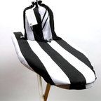 "The Laundress Ironing Board Cover & Bag - Chic, classic, and bold, this black and white striped ironing board cover is a great way to add spice and style to a boring laundry room. This cover is made out of 100% cotton with a polyester protective filling. It's designed to fit ironing boards which are 49-54"" in length & 14-18"" in width."