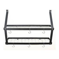 "Rogar - Double Bookshelf W/Grid, Black/Chrome - Dimensions: 35""W x 8-1/2""D x 24""H"
