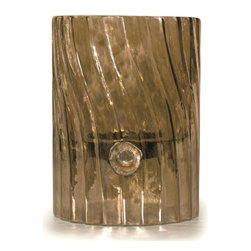 Everybody's Ayurveda - Elements Swirl Glass Votive/Pillar Holder - Sepia Brown - Sepia Elements Swirl Glass Votive/Pillar Holder Glass and Metal. Made in the U.S.A. Package Includes: Votive or Pillar Holder Only. Dimensions: Width: 4.25 inch. Height: 6 inch.
