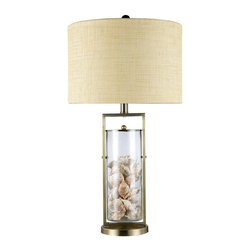 Dimond Lighting - D1978-LED Millisle Table Lamp, Antique Brass, Clear Glass - Transitional Table Lamp in Antique Brass with Clear Glass glass from the Millisle Collection by Dimond Lighting.