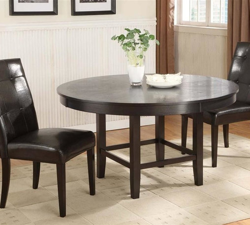 Modus - Bossa 48 in. Round Dining Table Set in Dark C - Set includes 48 in. round dining table & 2 Black leatherette dining height Parsons chairs. Elegant & sophisticated look. Floating top & apron detail. Large apron gives the table a substantial feel. Simple assembly procedure to build table base & attach table top. Stylish design blends contemporary & transitional elements. 30 in. High dining table designed for 20 in. high seats. Made of Birch solid wood & Eastern Ash wood veneer. Assembly required. Table top: 48 in. Dia x 3.5 in. H (88 lbs.). Table base: 24 in. L x 24 in. W x 29 in. H (26 lbs.). Dining height parsons chair: 21 in. W x 27 in. D x 40 in. H (34 lbs.)In Brazil, to do something with Bossa is to do it with particular charm and natural flair. Available in counter and dining height with 48 and 54 inch tops, Bossa tables pair straight lined architectural bases with round floating tops, built out edge bands and book matched veneer surfaces. Parsons chairs, banquettes and kitchen counter stools are available in several fresh colors and blend transitional button tufting with a contemporary profile, upholstery application and wood finish. The result is an urban contemporary casual dining set designed with ample Bossa.Bossa chairs, banquettes and stools feature no-sag web seat cushions for extra comfort and 10 bolt grooved corner block construction for easy assembly and long term durability. Bossa tables are built with solid birch legs and Ash wood veneer tops finished in a versatile multi-step Chocolate Brown finish that showcases wood surfaces while protecting them from spills and scratches.