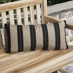 None - Charisma Indoor/ Outdoor Brown/ Black Pillow Made with Sunbrella - Add classic,yet cheerful,comfort to your outdoor seating with this striped outdoor pillow. Its weather-resistant fabric cover thoroughly protects its soft polyester-and-foam filling,and its tuxedo-stripe pattern complements a wood or metal seat.