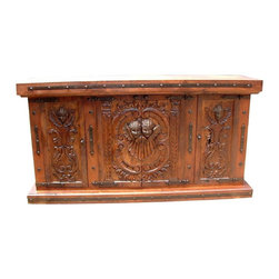 Mexican Artisans - Angels Carved 4 Door Buffet - Indeed Decor's heavenly Angels Wood Carved Buffet deserves a special place in your dining room.  This exquisite work of art is large enough to store all of your entertaining essentials and features 4 doors for easy access. This grand buffet measures 84″W x 44″H x 22″D.
