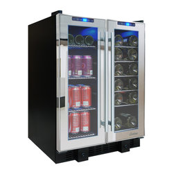 Vinotemp - 36-Bottle Touch Screen Mirrored Wine & Beverage Cooler - The VT-36TS-SM is perfect for those who love to entertain. This sleek mirrored cooler can house up to 19 standard wine bottles on the right side and 58 12 oz. cans on the left side. Front exhaust allows this cooler to fit seamlessly into existing cabinetry, lending a modern touch to any room. Touch screen control panels located at the top of each door allow you to monitor the temperature as well as adjust the temperature as needed.