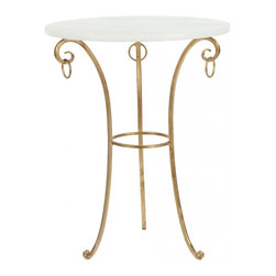 Safavieh - Tamara Accent Table - The fanciful Tamara accent table channels ancient Venetian design forms with hanging ring embellishments, white glass top and iron base with burnished brass finish.
