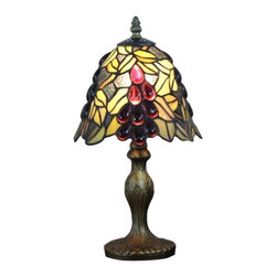 ParrotUncle - Grape Jeweled Tiffany Table Lamps Light Fixture - Inspired by Art Nouveau style lighting designs, shade of this grape jeweled Tiffany table lamp is constructed of individual pieces of stained art glass. It gives off a warm and pleasant light, helps creating a cozy environment in your bedroom by placing it on the nightstand.