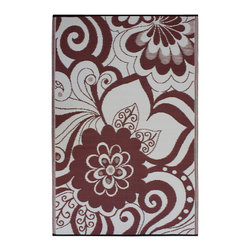 None - Prater Mills Indoor/ Outdoor Reversible Cranberry Red/ Cream Rug - Add some bold style to a poolside or patio with this indoor/outdoor floral rug. Crafted from tightly woven 100 percent recycled plastic,this rug is reversible and the red and off-white floral design is inverted on the opposite side.