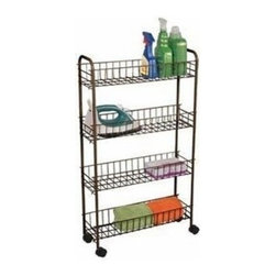 Richards Homewares - White Wire Cart with Wheels, 3-Tier, Large - Wire shelves make it easy to store and find items. Great for laundry room, bath rooms, and pantries. Rolls anywhere on easy glide castors. Available in three size to fit every storage need.