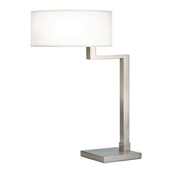 """Sonneman - Sonneman Quadratto Satin Nickel Finish Swing Table Lamp - This lamp stays out of the way on your desk and table but delivers the light where you need it. Just swing the squared arm where you want and enjoy this contemporary approach. Satin nickel finish. Off-white round linen shade. Three-way pull switch. 26"""" high. 14"""" wide. Shade is 6"""" high 14"""" diameter. Base is 9"""" wide 7"""" deep.  Satin nickel finish.  Off-white round linen shade.  Three-way pull switch.  Takes 2-60 watt bulbs (not included).  26"""" high.  14"""" wide.  Shade is 6"""" high 14"""" diameter.  Base is 9"""" wide 7"""" deep."""