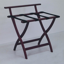 "Wooden Mallet - Luggage Rack w Black Webbing in Dark Red Maho - Our unique ""Wall Saver"" feature prevents costly wall damage. Has multiple uses when it doubles as a breakfast tray holder or blanket stand. Folds flat and is easily stored in a closet or against a wall when not in use. Four 2 in. woven straps support heavy suitcases. Graceful, curved legs add a designer flair. Rated to hold suitcases up to 100 lbs.. Built using solid oak construction and state-of-the-art finish for heavy use and lasting beauty.  Made in the USA. No assembly required. All Wooden Mallet products are warranted for 1 year against defects in materials and workmanship. Overall: 29.5 in. L x 23.75 in. W x 18 in. H (7 lbs.). Open: 29.5 in. L x 23.75 in. W x 18 in. H. Closed: 29.5 in. L x 23.75 in. W x 4.5 in. HGive your guest room the feeling of a four star hotel with this beautiful luggage rack. Built using solid oak and sturdy webbing, even the heaviest suitcases are easily supported by the four 2 in. wide woven straps. Our unique ""Wall Saver"" feature prevents costly wall damage. This luggage rack has multiple uses when it doubles as a breakfast tray holder or blanket stand. These luggage racks fold and unfold easily. Take it out for guests, and then fold it up for easy storage. It is also a great in the master bedroom for packing suitcases for business trips or vacations."