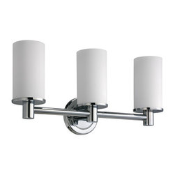 Gatco - Gatco 1686 Chrome Latitude 2 Triple Sconce Bath Lighting from the - Triple Sconce Bath Lighting from the Latitude² Collection The finest in fashion bath, kitchen and home accessories. From traditional to contemporary, offering a variety of designer collections to compliment your style. Choose from many bathroom accessories such as towel bars, mirrors, grab bars, shower curtain rods, hooks, and free standing and counter top accessories. Gatco s Premier collections are constructed of the finest brass. Our high quality pieces are fabricated under a process know as forging. Forging is the ideal manufacturing process for creating smooth and precise detail of solid brass. Our finishes are the finest in the industry with each piece hand polished to perfection. Features:  Three Light Fixture Up Lighting  Specifications:  Width: 19.6""