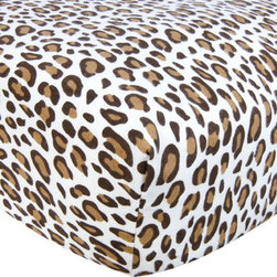 """Trend Lab - Crib Sheet - Leopard Print Cream Flannel - Your child's bed will be soft and cozy with this Leopard Print Cream Flannel Fitted Crib Sheet by Trend Lab. Sheet features a chocolate and caramel leopard print on a cream background. Sheet features 7"""" deep pockets and fits a standard 52"""" x 28"""" crib mattress. Elastic around entire opening and elastic sheet straps sewn in each corner ensures a more secure fit. Coordinates with the Animal Print collection by Trend Lab."""