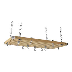 Concept Housewares PR4 Rectangular Kitchen Rack Pot Hook - Nice wood pot rack with clean lines. Will work in a variety of kitchen design styles.