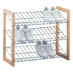 "Organize It All Inc. - Wood Frame Shoe Shelves - 3 Tier - Available in 3 or 4 tiers these durable shoe shelves are built into a sturdy wood frame.  Not stackable but great where you just need a little basic shoe storage to keep your familys everyday favorites from sprawling. Dimensions --3 Tier: 25""W x 12""D x 20.75""H4 Tier: 25""W x 12""D x 27.5""H"