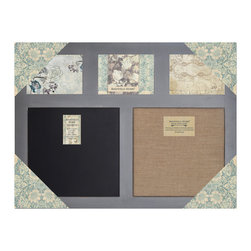 "Enchante Accessories Inc - Distressed Wood Framed Cork Board & Chalk Board (Distressed Grey) 20""x24"" - This message board features a distressed wooden framed burlap board / chalkboard combination, plus three openings for Photos. The other option is a Chalk Board and steel board combination."