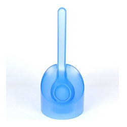 Gedy - Modern Light Blue Toilet Brush Holder - Trendy light blue free standing toilet brush holder with bristle brush.
