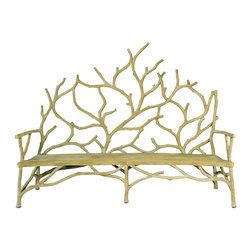 Currey & Co - Currey & Co 2008 Elwynn Faux Bois Large Bench - The Currey & Co 2008 Elwynn Faux Bois Large Bench offers an elegant design with the appearance of a tree sprouting from the ground. The bench is made using the faux bois method and looks like wood, but in fact, the frame is made of steel and then covered with concrete. The concrete is handcrafted into its tree-like design. This is a very substantial piece of furniture that is made to last. It would make a lovely addition to an outdoor garden.