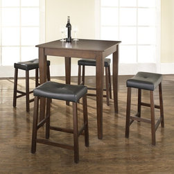 Crosley Furniture - 5 Pc Pub Dining Set w Cabriole Leg and Saddle - Includes Pub Table and 4 Stools in Vintage Mahogany. Solid Hardwood & Veneer Construction Table . Solid Hardwood Stools. Hand Rubbed, Multi-Step Finish. Solid Hardwood, Carved Cabriole Style Legs. Durable Stain Resistant Faux Leather PVC Seat. Table Dimensions: 36 in. H x 32 in. W x 32 in. D. Stool Dimensions: 24 in. H x 18.5 in. W x 22.5 in. DConstucted of solid hardwood and wood veneers, the 5 piece Pub / High Dining set is built to last. Whether you are looking for dining for four, or just a great addition to the basement or bar area, this set is sure to add a touch of style to any area of your home.