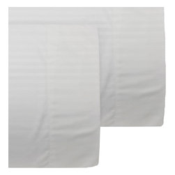 Store51 LLC - White on White Pillowcase Set Striped Pillow Covers - FEATURES: