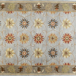 "Venezia - Charkra 3'6"" X 5'6"" 100% wool pile area rug in slate - Venezia Collection - Charkra 3'6"" X 5'6"" 100% wool pile area rug in slate"