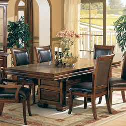Coaster - Westminister Collection Dining Table in Cherry - This large size, heavy hardware and rich finish give you a true taste of the Old West. This handsome dining collection finds its appeal in any home. Made of birch solids and veneers.