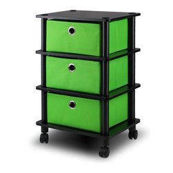 Furinno - Furinno 11211 Laci 3 Bins System Rack, Black/Green - Furinno Home Living No Tools Technique Storage and Organization Series: 3 Bins System Rack w/Caster . (1) Unique Structure: Design with pull-out drawers. Look neat and easy for storage. Suitable for rooms needing vertical storage area. Suitable for rooms needing vertical storage area. (2) Easy No Tools Technique Assembly: with reference to the assembly instruction, this unit can be assembled in as short as 15 minutes. Designed to meet the demand the cost efficient rules and yet durable. It is proven to be the most popular rta furniture due to its functionality, price, and the no hassle assembly. Experience the fun of D-I-Y even with your kids . (3) The  Particleboard is manufactured in Malaysia and comply with the green rules of production. All particleboards are made from the recycled materials of rubber trees, eco-friendly approached. (4) Mobility: The durable casters provide convenience and turn the storage unit into multipurpose cart. A simple attitude towards lifestyle is reflected directly on the design of Furinno Furniture, creating a trend of simply nature. All the products are produced 100-percent in Malaysia.