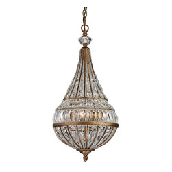 Elk Lighting - Elk Lighting Empire Collection 3 Light Pendant In Mocha - 46046/3 - 3 Light Pendant In Mocha - 46046/3 in the Empire collection by Elk Lighting The Empire collection captures the regal beauty of French Empire design with it's classic shape and extravagant crystal.  Tapered crystal combinations gracefully flow from top to bottom via a glass bead-lined frame finished in Mocha.  Unique curved crystals encircle the mid-section of the fixture creating a unique transition between the bowl and center column of each fixture.  Pendant (1)
