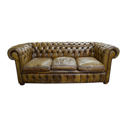 English Chesterfield Dark Taupe Tufted Leather Sofa w/Scrolled Arms & 3 Loose Do - Dimensions:L 84''  × W 36''  × H 30''
