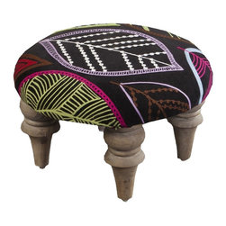 "Surya - Embroidered Leaves Foot Stool by Surya - Points for cheerfulness ... Enliven your sitting area with just one small addition. The large and colorful embroidered leaves are contrasted by a black velvet background. Four curvy legs give rise to this compact, yet functional foot stool. (SY) 15.2"" diameter x 8"" high wood base"