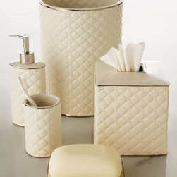 "Charisma - Charisma Pump Dispenser - Understated elegance is evident in this ivory ceramic vanity collection textured with a classic diamond motif. Hand painted. Wastebasket, approximately 7.5""Dia. x 10""T. Tissue box cover, approximately 5.5""W x 5.75""D x 6.5""T. Soap dish, approximately 5.5"" x 3.5"". Tumbler, approximately 4.5""T. P"