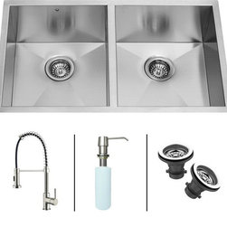 Vigo - VIGO Undermount Stainless Steel Kitchen Sink, Faucet and Dispenser VG15017 - VIGO-Stainless Steel-Kitchen Sinks Kitchen Sets are fully undercoated and padded with multi layer sound eliminating technology which also prevents condensation.  All Vigo kitchen sinks guaranteed to never rust.  Faucet features spray face that resists mineral buildup and is easy-to-clean. Vigo finishes resist corrosion and tarnishing, exceeding industry durability standards .  Drip-free ceramic disc cartridge.