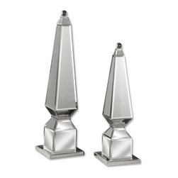 Uttermost - Alanna Mirrored Finials, Set of 2 - Your eye for design is apparent. You know these mirrored finials will catch light and refract it back in thousands of glittering colors casting dancing shadows on any table, mantel or sideboard.