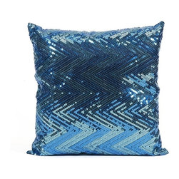 IMAX CORPORATION - Estradin Blue Sequin Chevron Pillow - Strikingly bold, this blue sequin chevron pillow adds shimmering brilliant color and pattern to any space. Find home furnishings, decor, and accessories from Posh Urban Furnishings. Beautiful, stylish furniture and decor that will brighten your home instantly. Shop modern, traditional, vintage, and world designs.