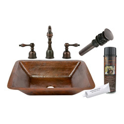 "Premier Copper Products - Premier Copper Products BSP2_LREC19DB 19"" Under Counter Copper Sink Package - Premier Copper Products BSP2_LREC19DB 19"" Under Counter Copper Sink Package"