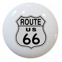 Carolina Hardware and Decor, LLC - Route 66 Road Sign Ceramic Knob - New 1 1/2 inch ceramic cabinet, drawer, or furniture knob with mounting hardware included. Also works great in a bathroom or on bi-fold closet doors (may require longer screws). Item can be wiped clean with a soft damp cloth. Great addition and nice finishing touch to any room!