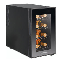 None - Westinghouse Thermal Electric 8-bottle Wine Cellar - The Westinghouse Thermal Electric Wine Cellar features an eight-bottle capacity and ultra quiet thermal electric cooling. The mechanical adjustable thermostat control feature keeps bottles cooled between 46 - 66 degrees Fahrenheit.
