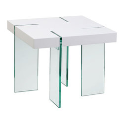 """Diamond Sofa - Glass Leg 24"""" End Table with White Lacquer Top - The contemporary end table has an undeniable appeal from top to bottom. It offers the block table top design accentuated with the modern look of the clear, tempered glass legs."""