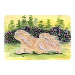 Caroline's Treasures - Lhasa Apso Kitchen or Bath Mat 24 x 36 - Kitchen or Bath Comfort Floor Mat This mat is 24 inch by 36 inch. Comfort Mat / Carpet / Rug that is Made and Printed in the USA. A foam cushion is attached to the bottom of the mat for comfort when standing. The mat has been permanently dyed for moderate traffic. Durable and fade resistant. The back of the mat is rubber backed to keep the mat from slipping on a smooth floor. Use pressure and water from garden hose or power washer to clean the mat. Vacuuming only with the hard wood floor setting, as to not pull up the knap of the felt. Avoid soap or cleaner that produces suds when cleaning. It will be difficult to get the suds out of the mat.