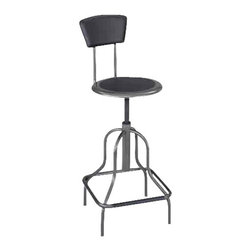 Safco - Safco Diesel Black High Base Diesel Industrial Stool - Safco - Drafting Chairs - 6664 - Power up! Whether it's production or performance allow Diesel to power the progress. Diesel is ideally suited for workbench and work table use in the industrial institutional and educational industries. With its leather padded steel back steel frame and clear coat Pewter finish it's built to hold up under rugged use. The nylon coated screw lift manually adjusts the leather padded seat. Durable non-marring rubber feet protect floors. Some assembly required.